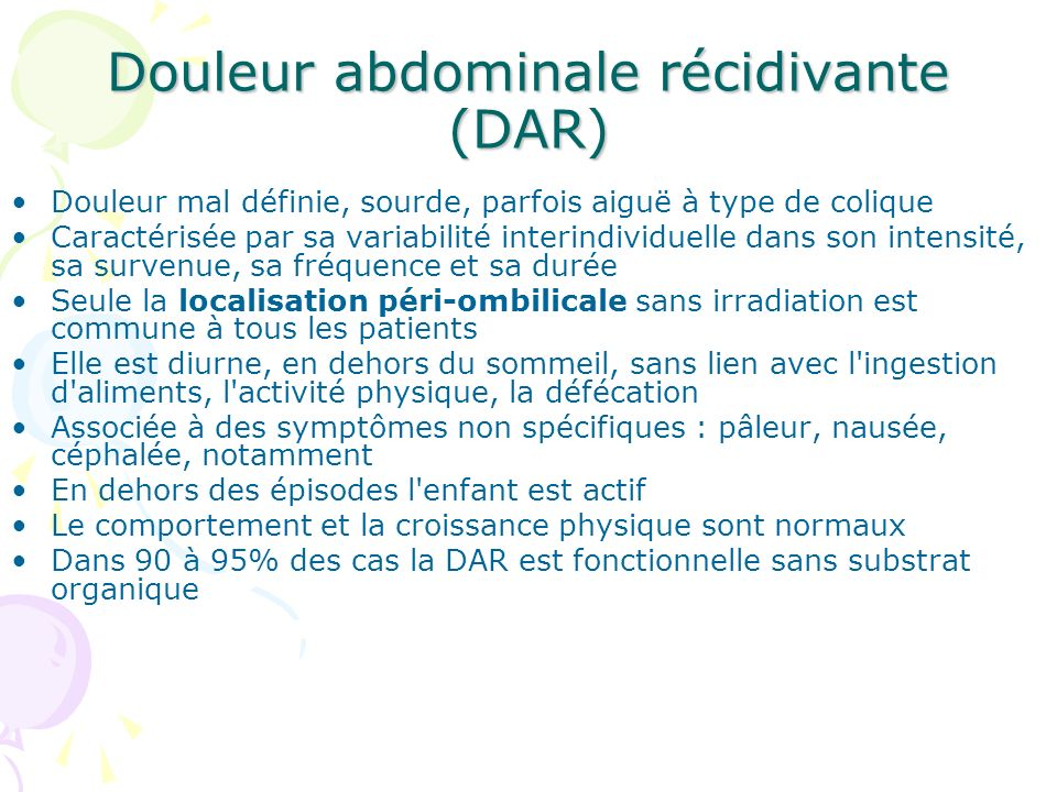 Douleur abdominale récidivante (DAR)