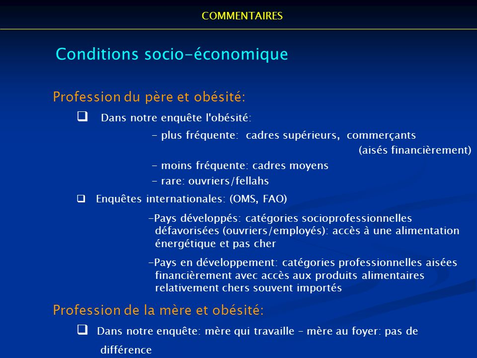 Conditions socio-économique