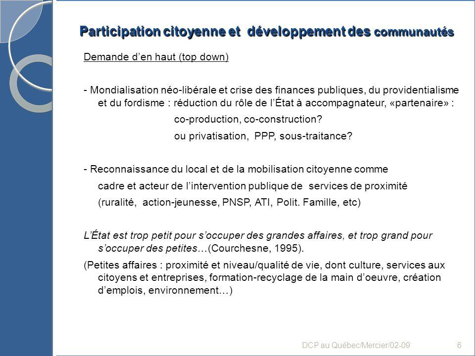 Participation citoyenne et développement des communautés