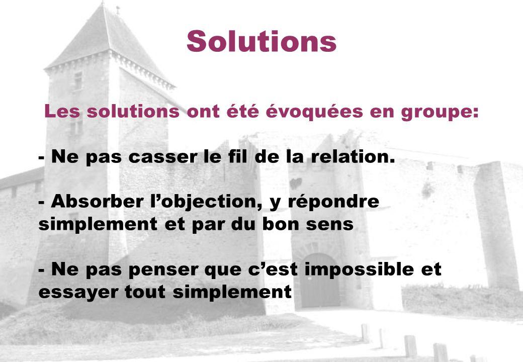 Les solutions ont été évoquées en groupe:
