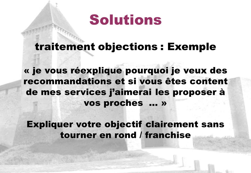 Solutions traitement objections : Exemple