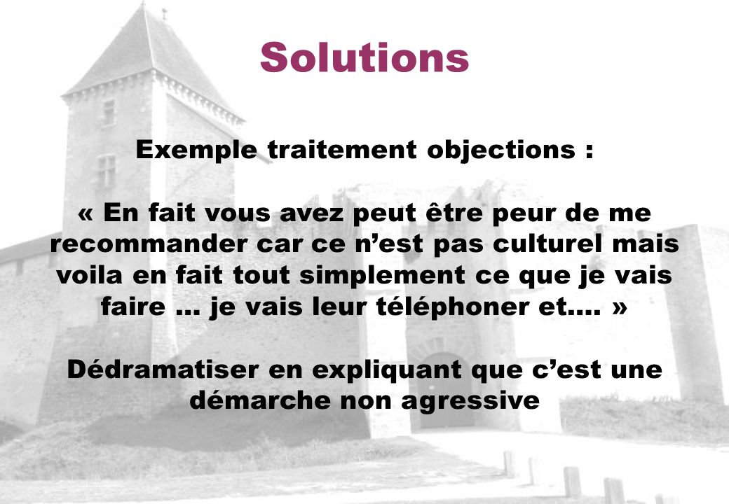 Solutions Exemple traitement objections :