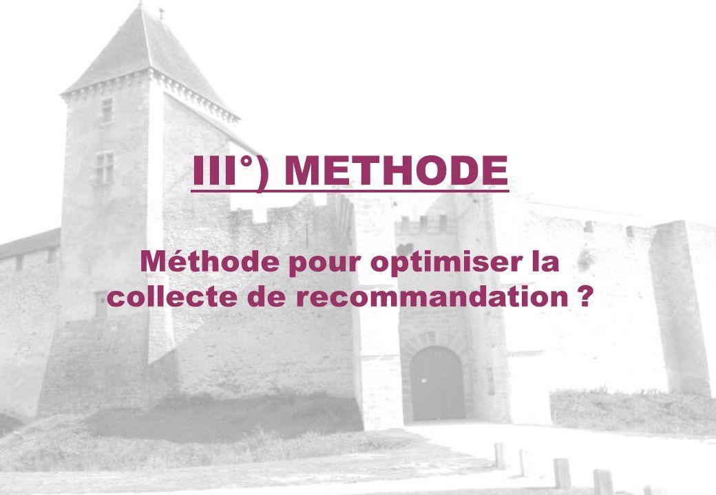 Méthode pour optimiser la collecte de recommandation