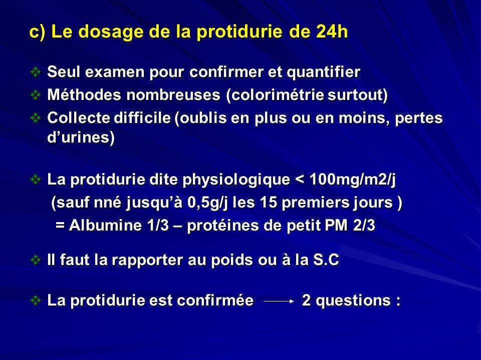 c) Le dosage de la protidurie de 24h