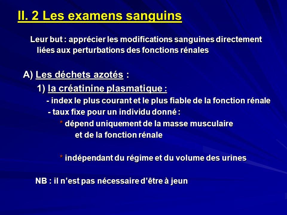 II. 2 Les examens sanguins