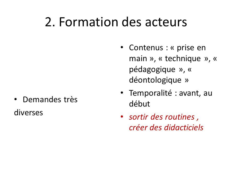 2. Formation des acteurs Demandes très. diverses. Contenus : « prise en main », « technique », « pédagogique », « déontologique »