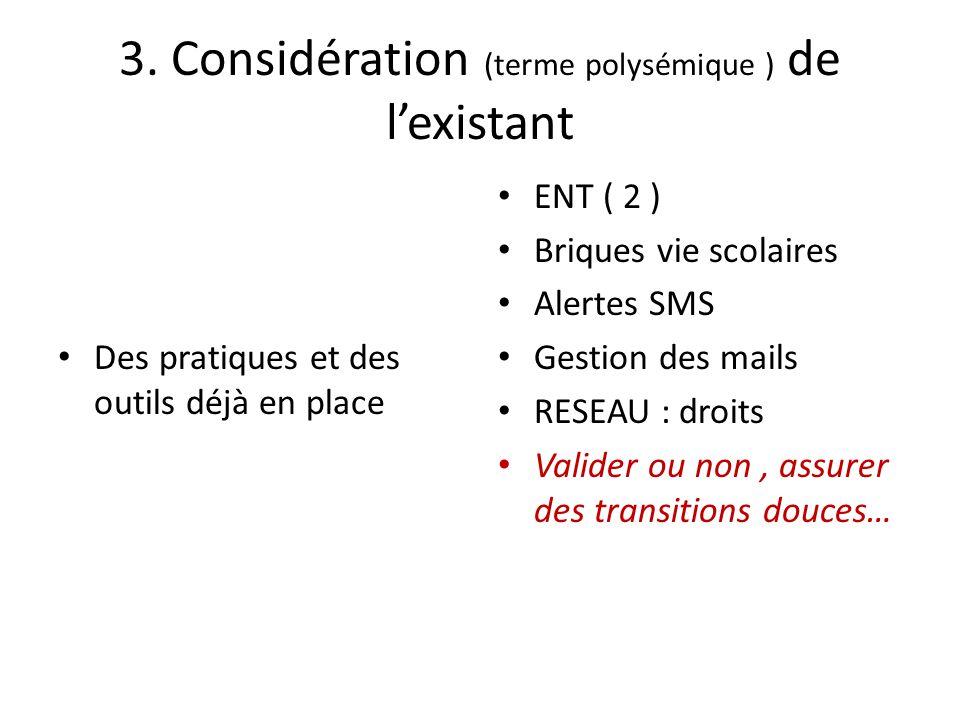 3. Considération (terme polysémique ) de l'existant