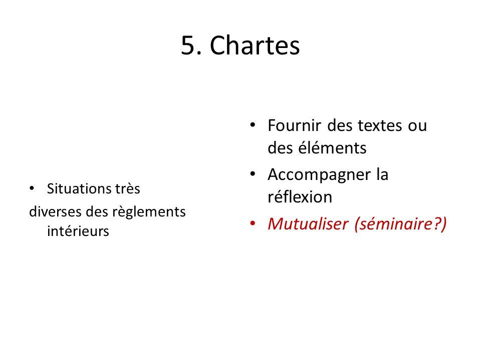 5. Chartes Fournir des textes ou des éléments Accompagner la réflexion