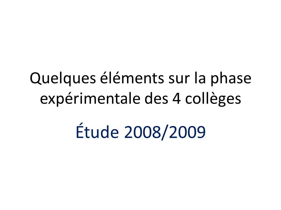 Quelques éléments sur la phase expérimentale des 4 collèges