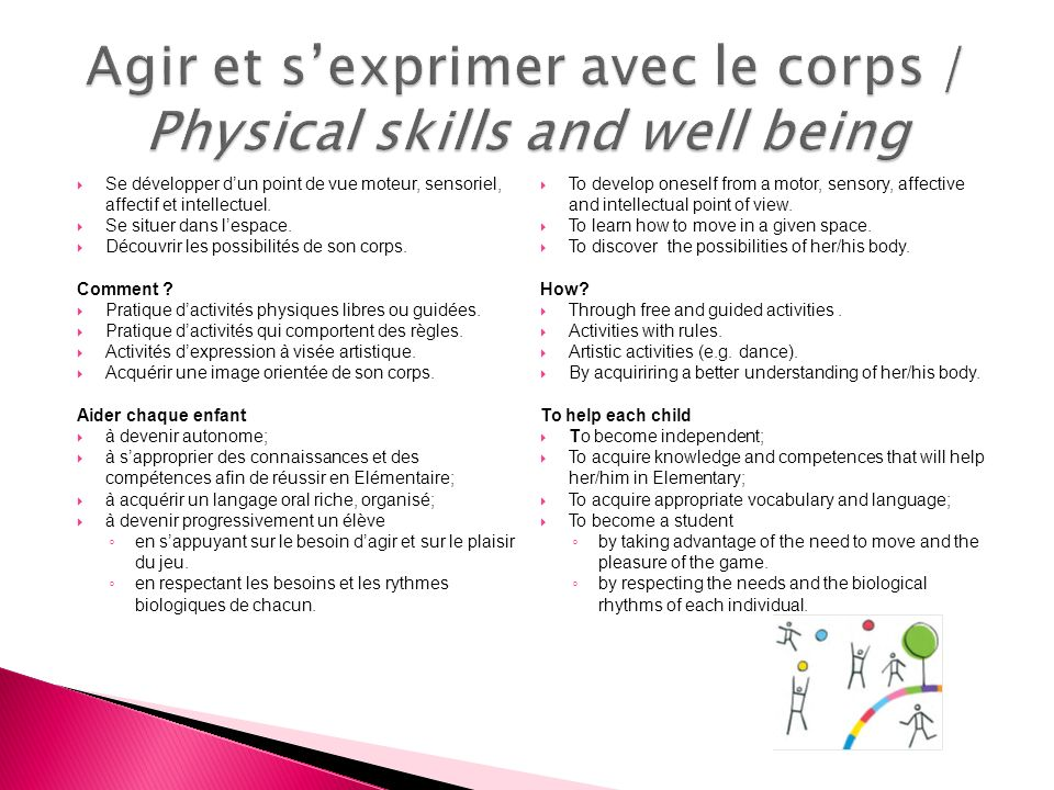 Agir et s'exprimer avec le corps / Physical skills and well being