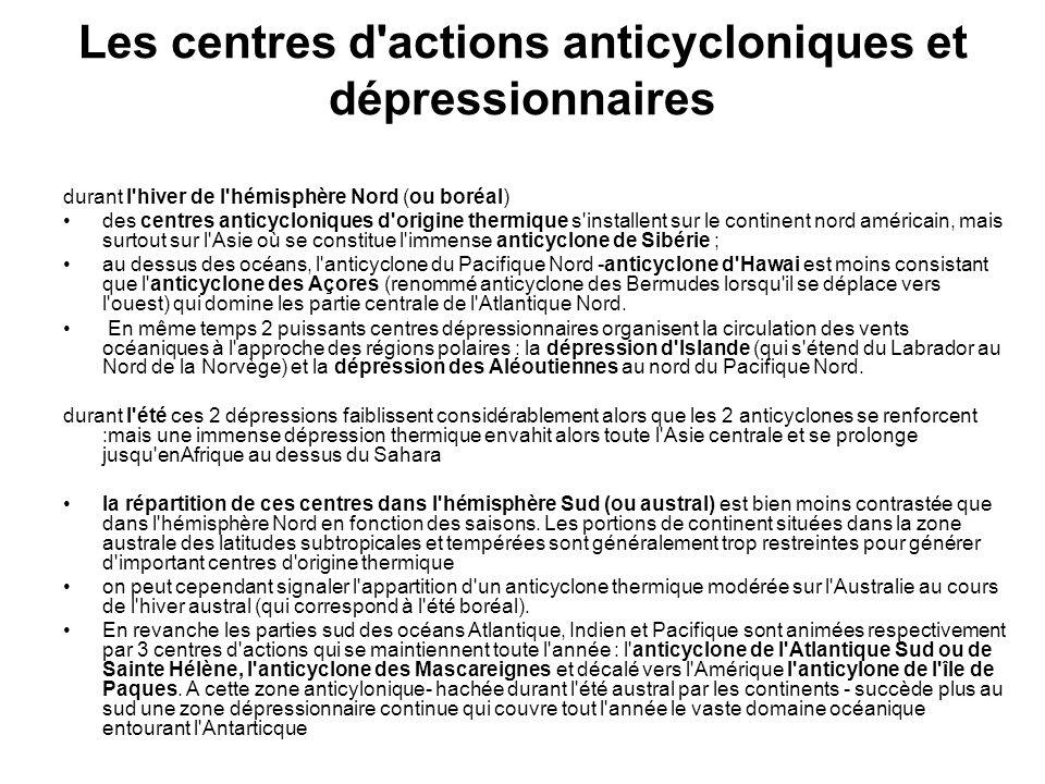 Les centres d actions anticycloniques et dépressionnaires