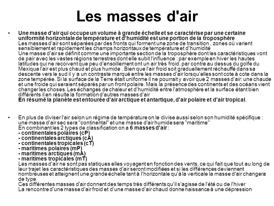 Les masses d air