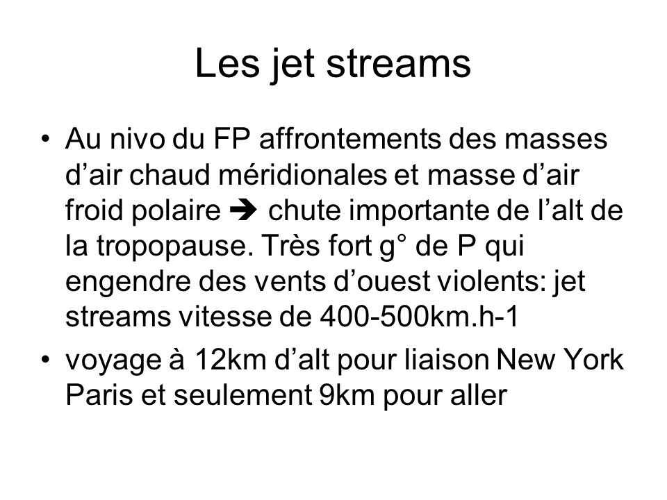Les jet streams