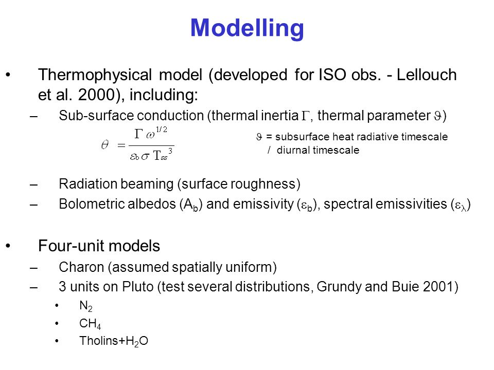 Modelling Thermophysical model (developed for ISO obs. - Lellouch et al. 2000), including: