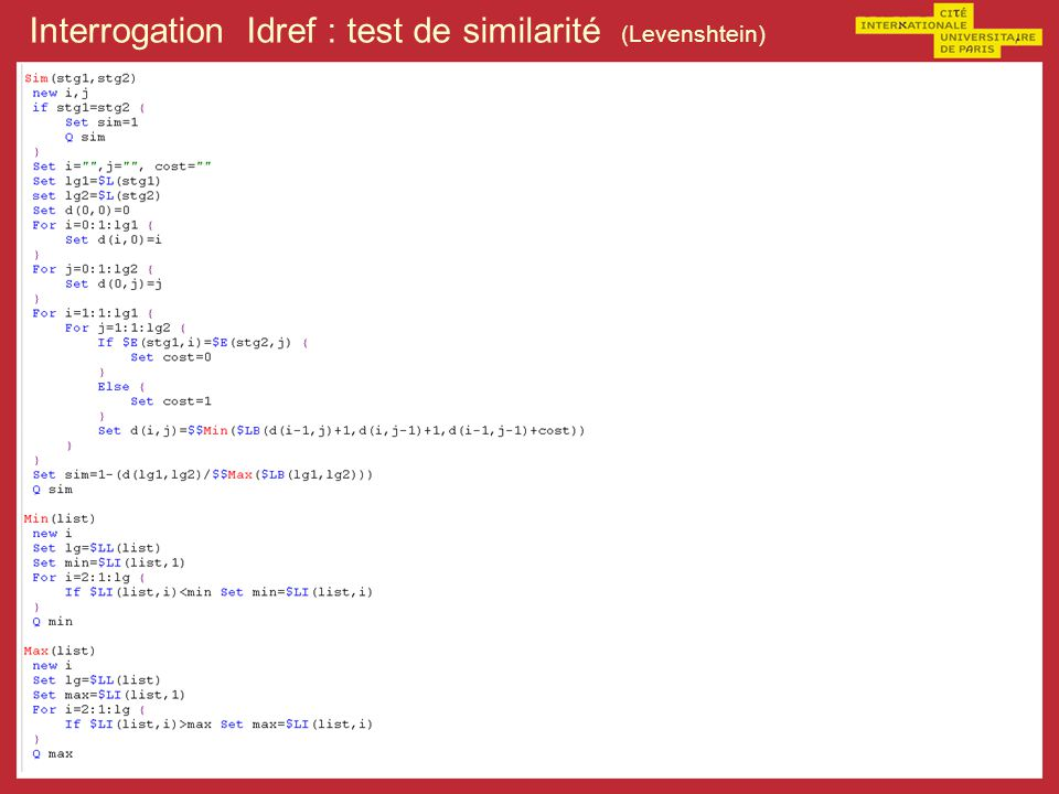 Interrogation Idref : test de similarité (Levenshtein)