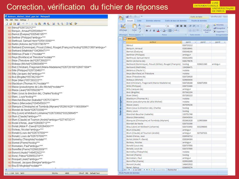 Correction, vérification du fichier de réponses