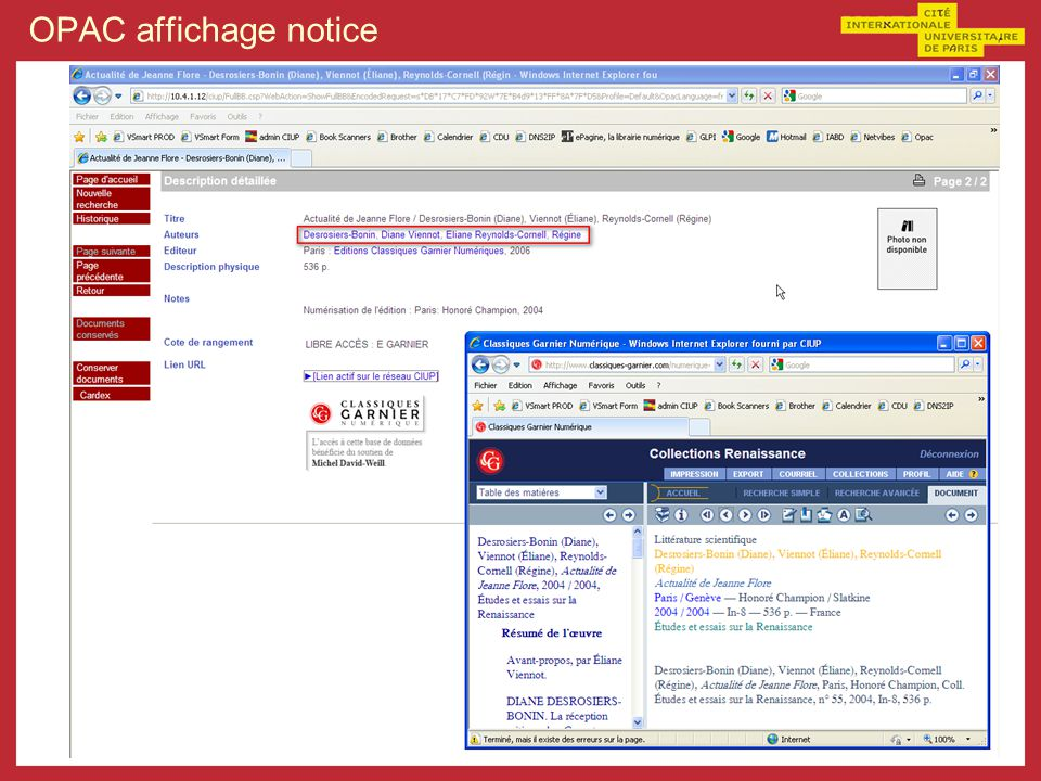 OPAC affichage notice