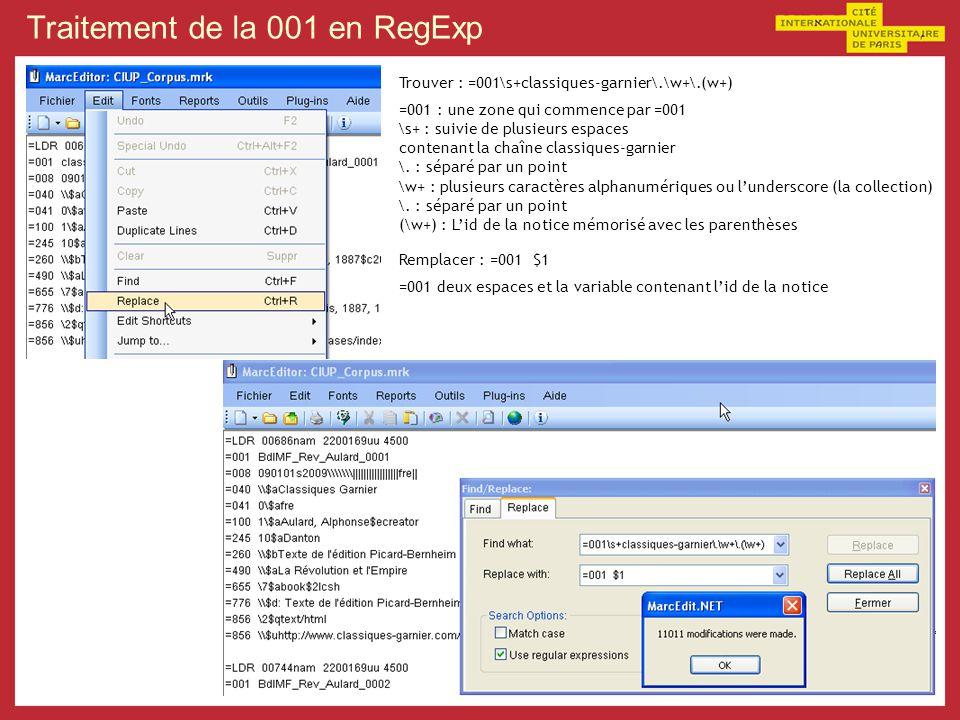 Traitement de la 001 en RegExp