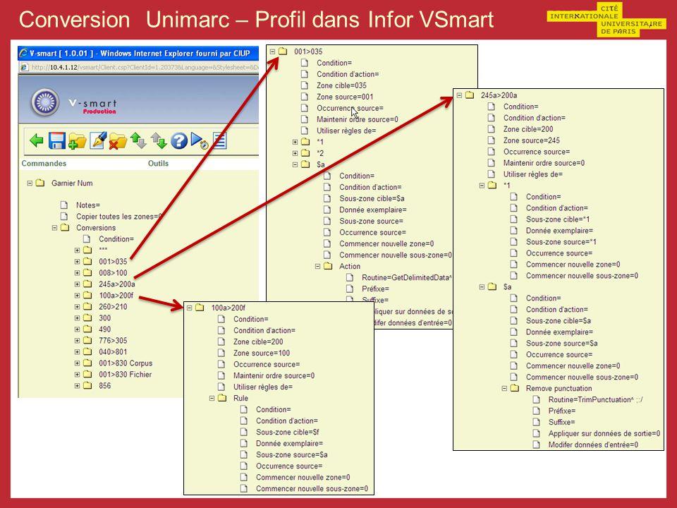 Conversion Unimarc – Profil dans Infor VSmart