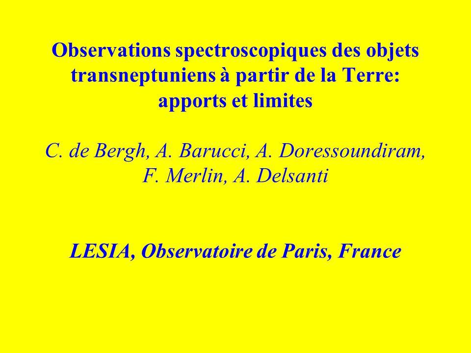 Observations spectroscopiques des objets transneptuniens à partir de la Terre: apports et limites C.