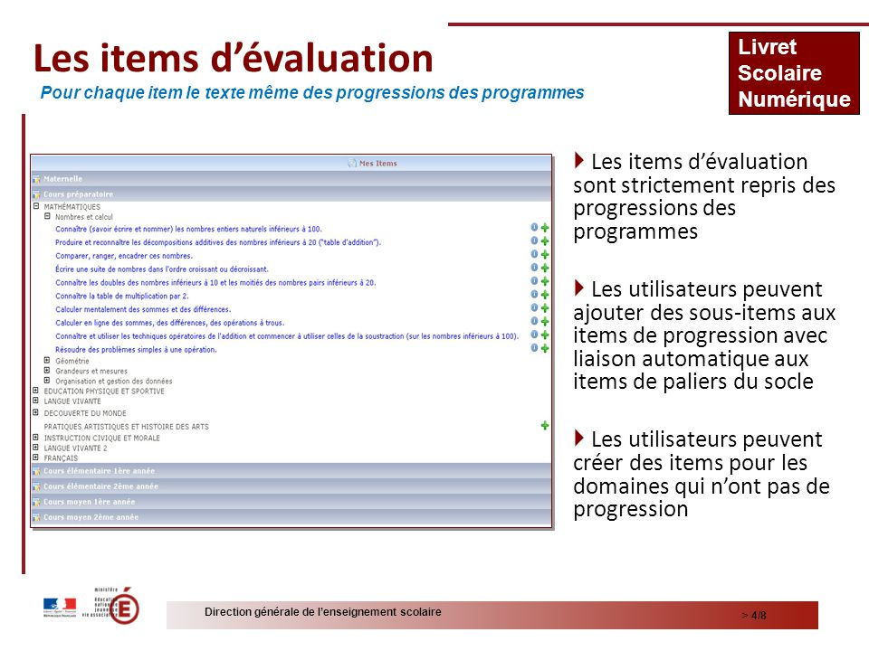 Les items d'évaluation