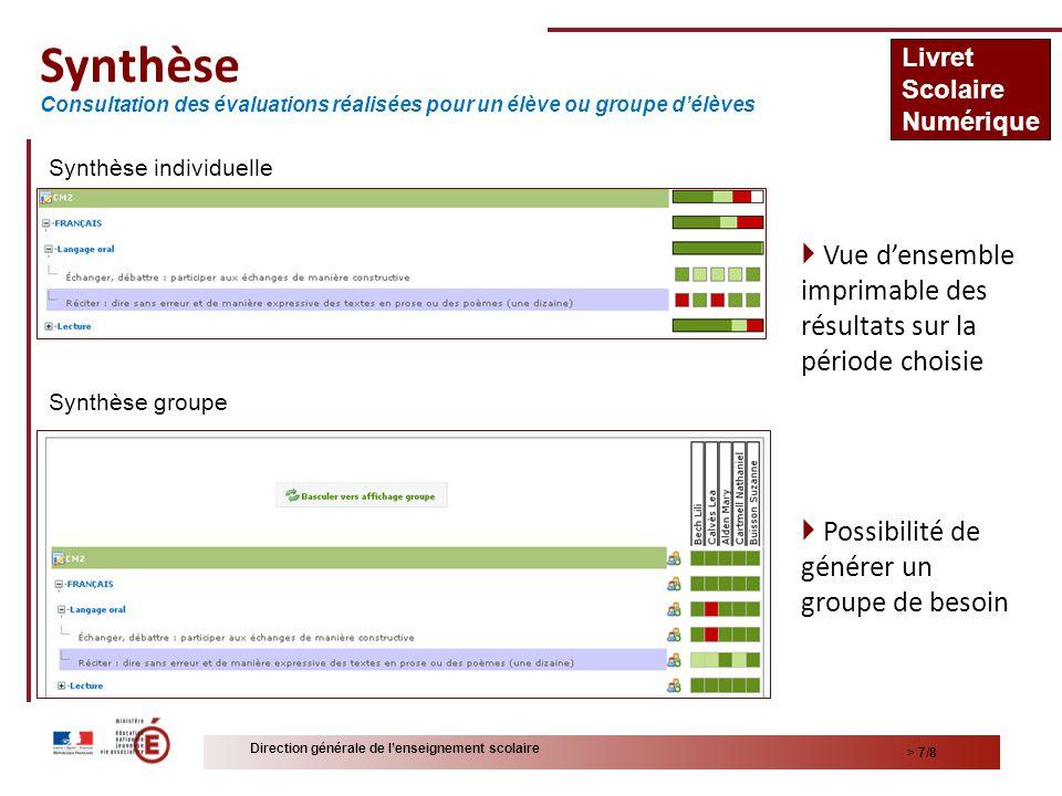 Synthèse Livret. Scolaire. Numérique. Consultation des évaluations réalisées pour un élève ou groupe d'élèves.