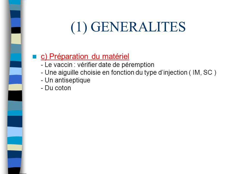 (1) GENERALITES