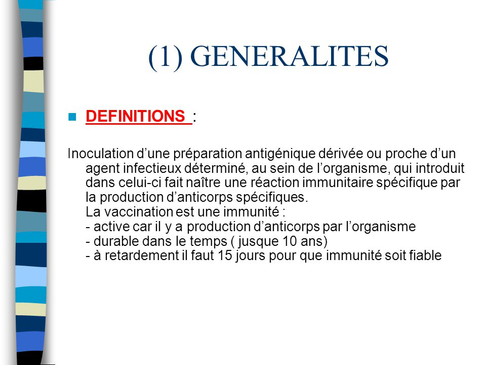 (1) GENERALITES DEFINITIONS :