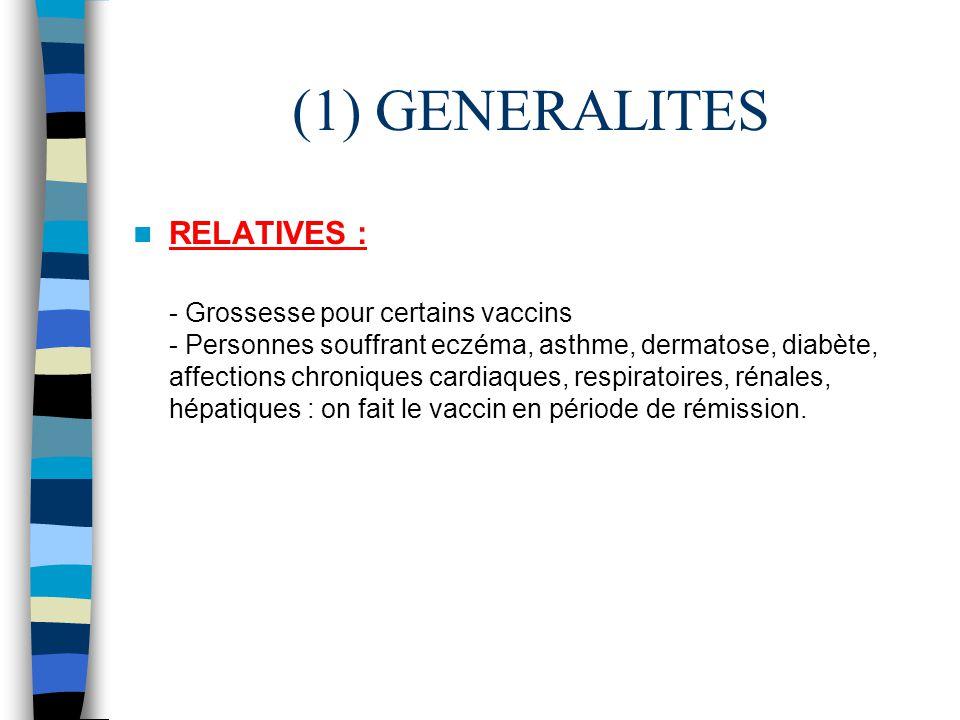 (1) GENERALITES RELATIVES :