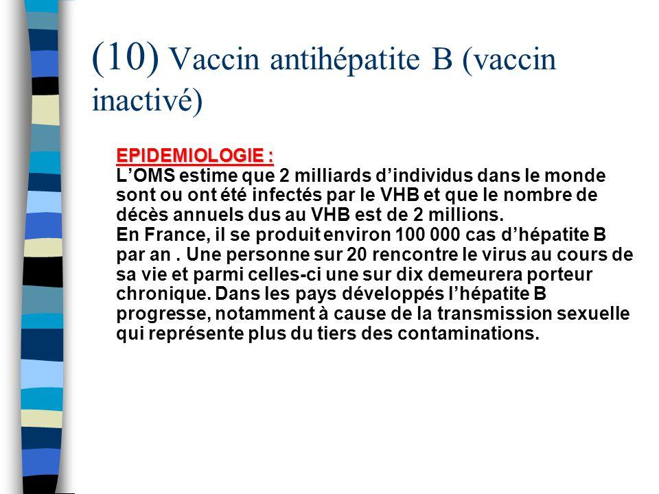 (10) Vaccin antihépatite B (vaccin inactivé)