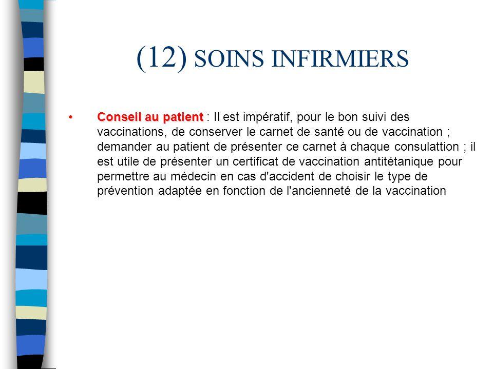 (12) SOINS INFIRMIERS