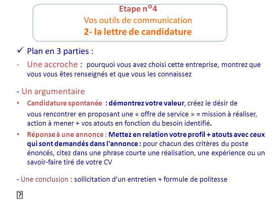 Etape n°4 Vos outils de communication 2- la lettre de candidature