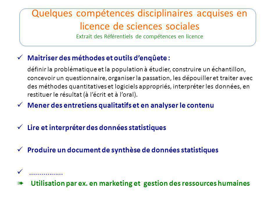Quelques compétences disciplinaires acquises en licence de sciences sociales Extrait des Référentiels de compétences en licence