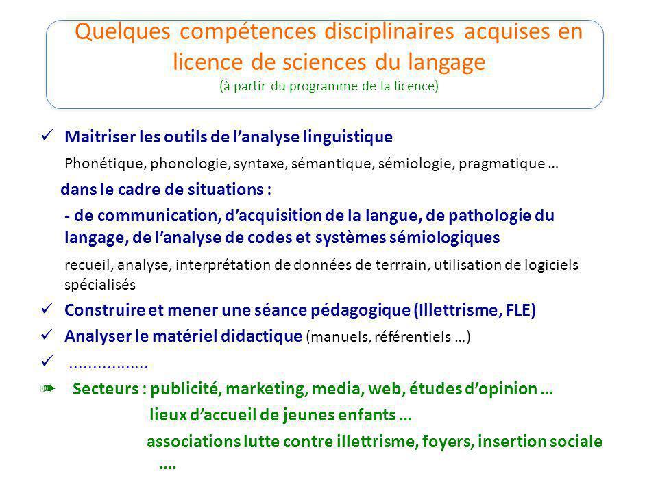 Quelques compétences disciplinaires acquises en licence de sciences du langage (à partir du programme de la licence)