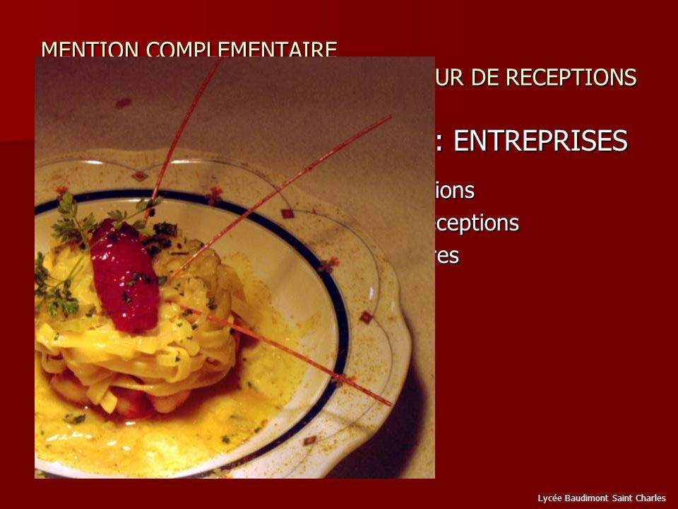MENTION COMPLEMENTAIRE ORGANISATEUR DE RECEPTIONS