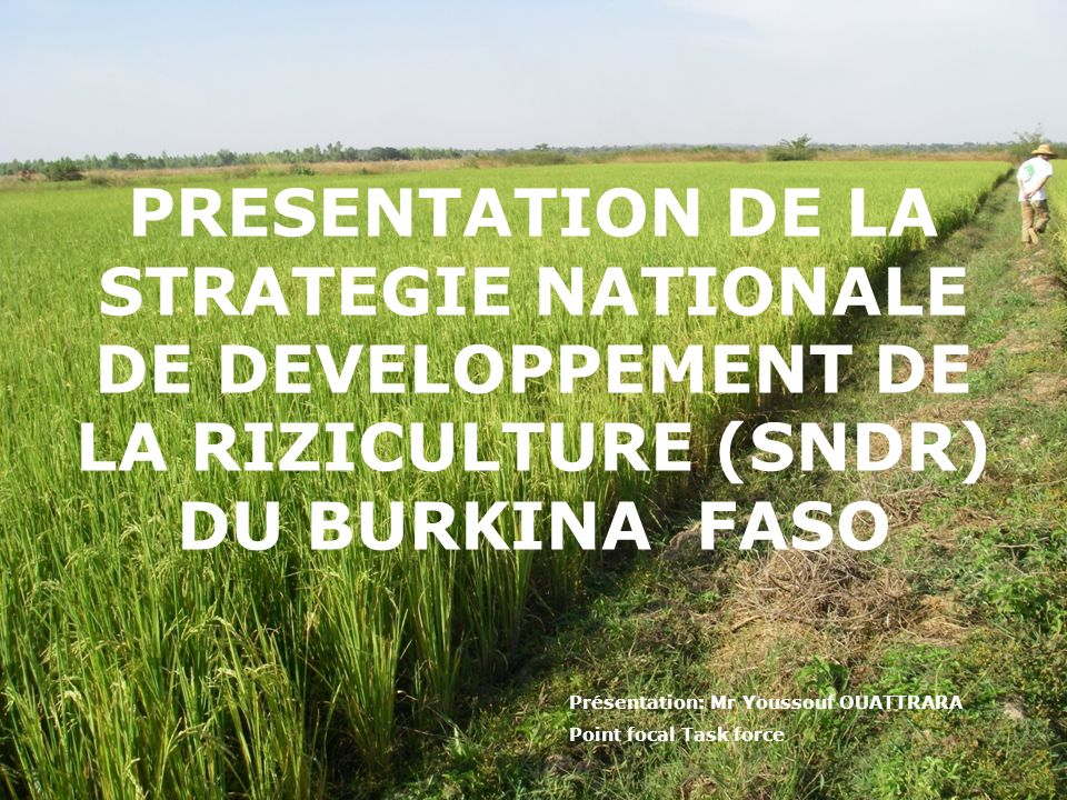 PRESENTATION DE LA STRATEGIE NATIONALE DE DEVELOPPEMENT DE LA RIZICULTURE (SNDR) DU BURKINA FASO