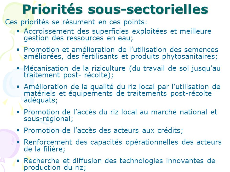 Priorités sous-sectorielles