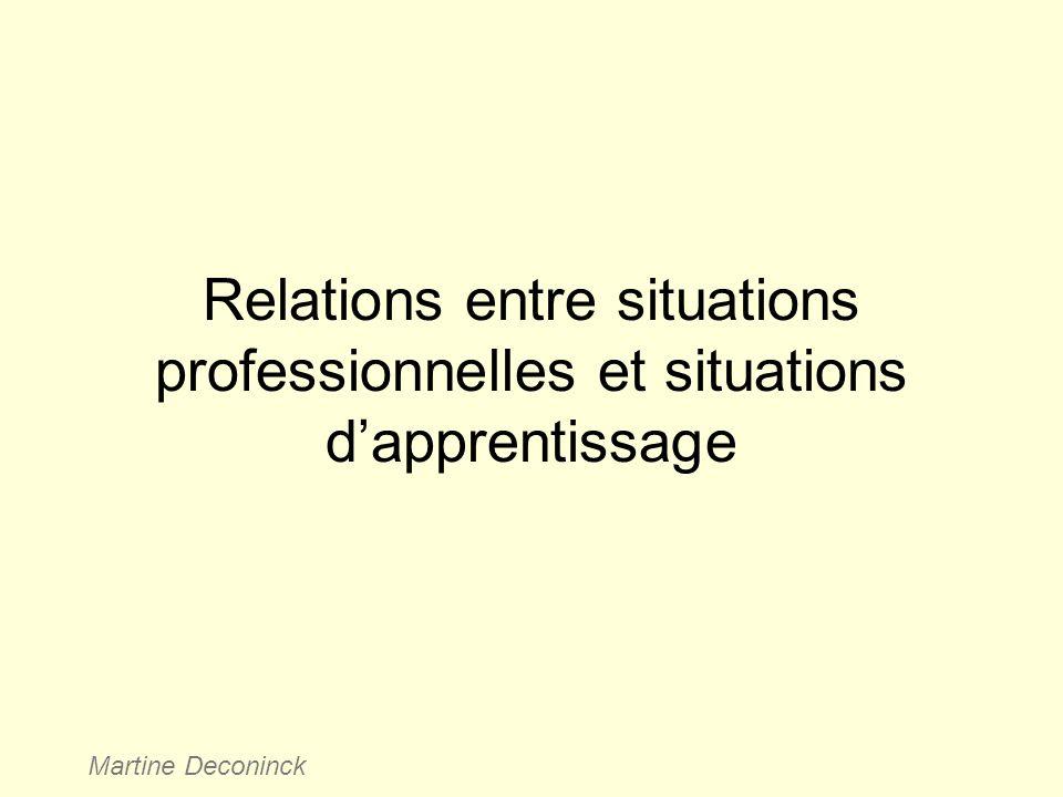 Relations entre situations professionnelles et situations d'apprentissage