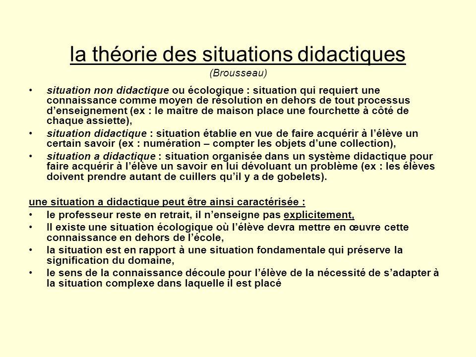 la théorie des situations didactiques (Brousseau)