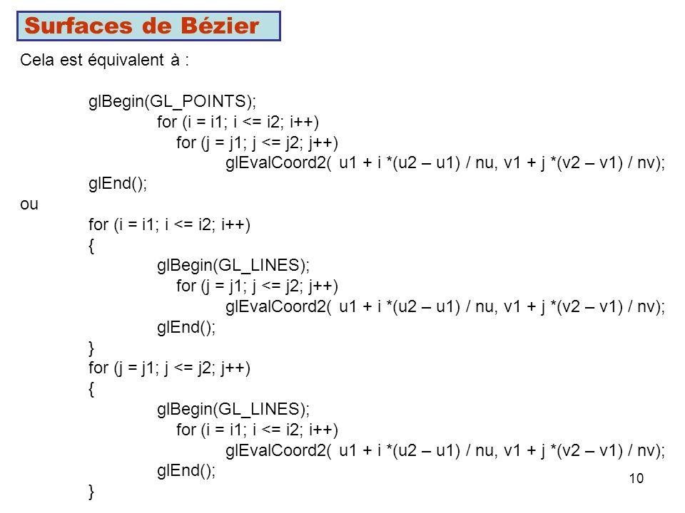 Surfaces de Bézier Cela est équivalent à : glBegin(GL_POINTS);