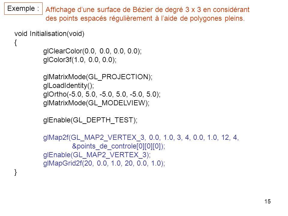 Exemple : Affichage d'une surface de Bézier de degré 3 x 3 en considérant. des points espacés régulièrement à l'aide de polygones pleins.