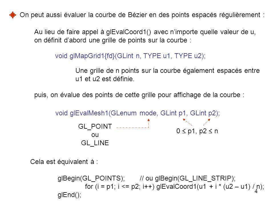 On peut aussi évaluer la courbe de Bézier en des points espacés régulièrement :