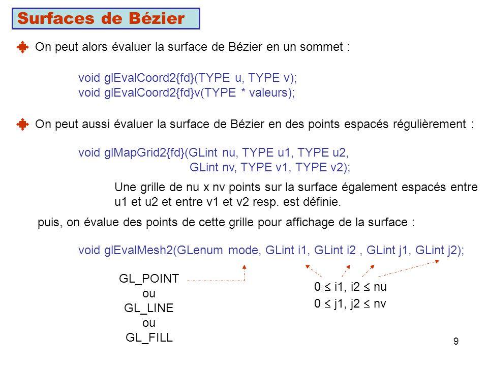 Surfaces de Bézier On peut alors évaluer la surface de Bézier en un sommet : void glEvalCoord2{fd}(TYPE u, TYPE v);