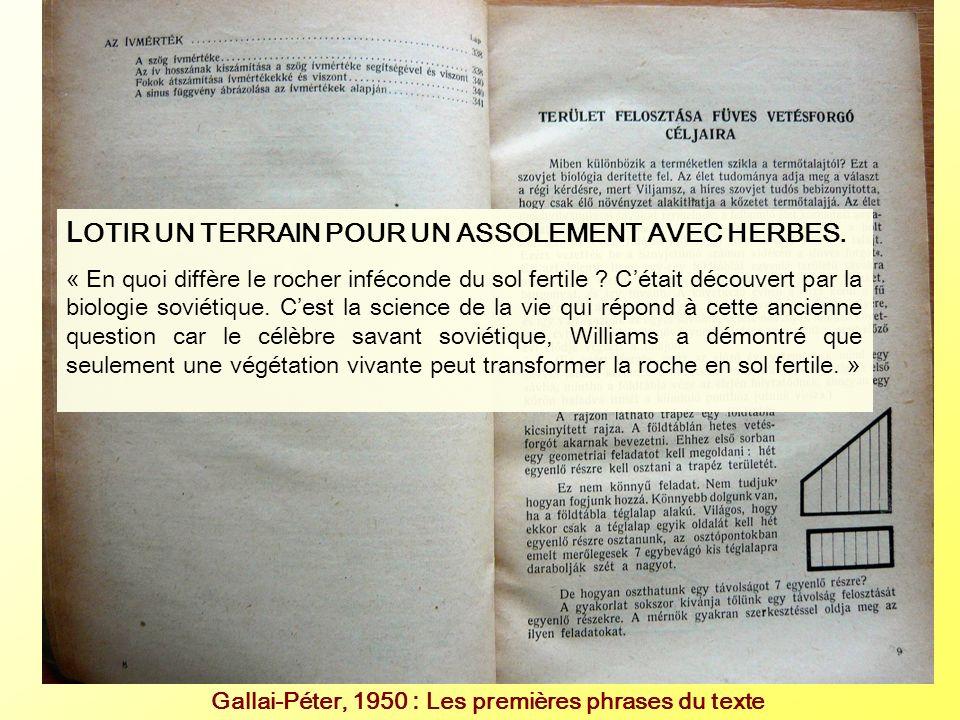 Gallai-Péter, 1950 : Les premières phrases du texte