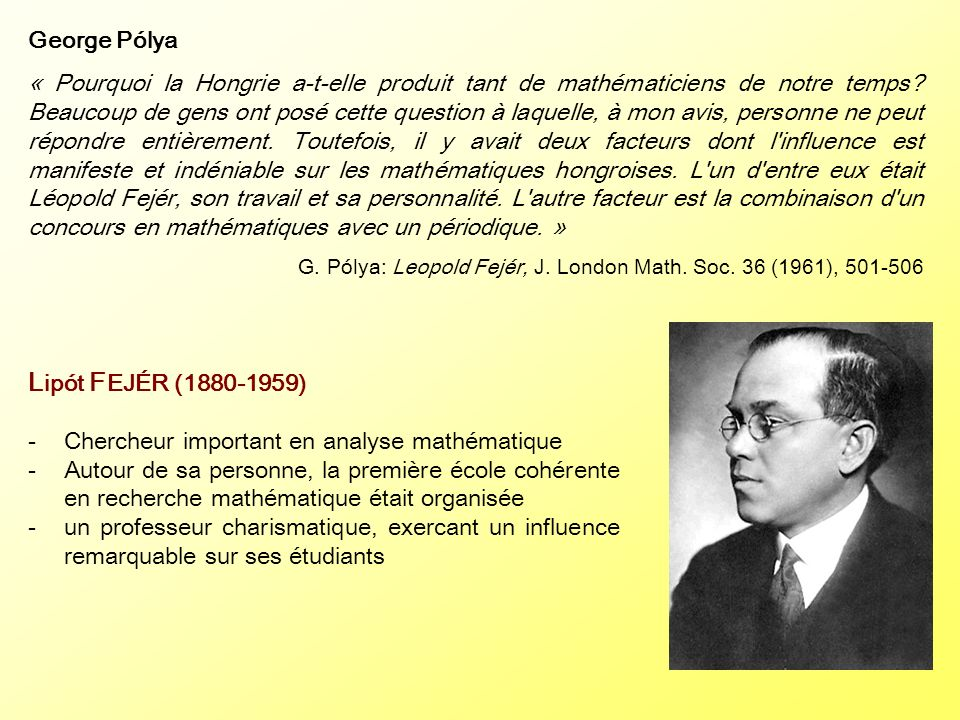 Lipót FEJÉR (1880-1959) George Pólya