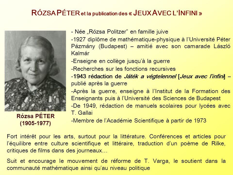 RÓZSA PÉTER et la publication des « JEUX AVEC L'INFINI »