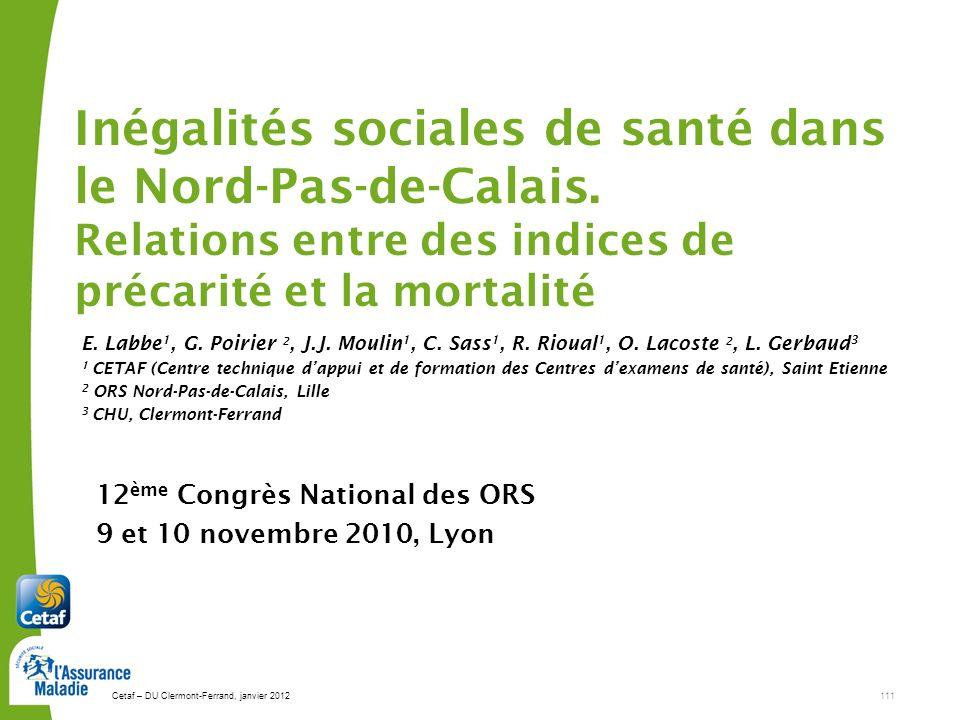 12ème Congrès National des ORS 9 et 10 novembre 2010, Lyon