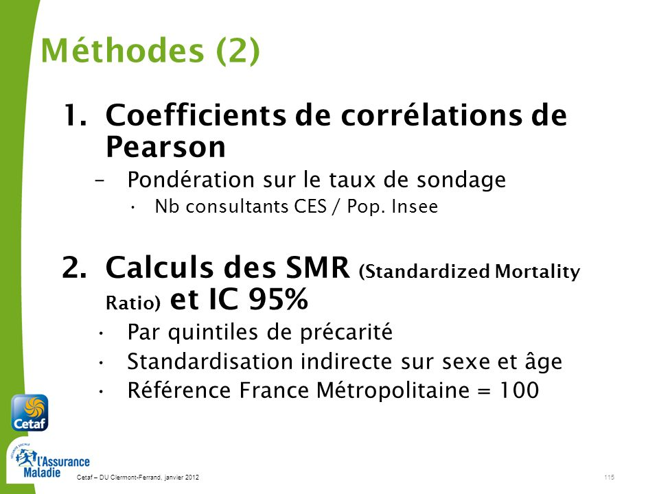 Méthodes (2) Coefficients de corrélations de Pearson