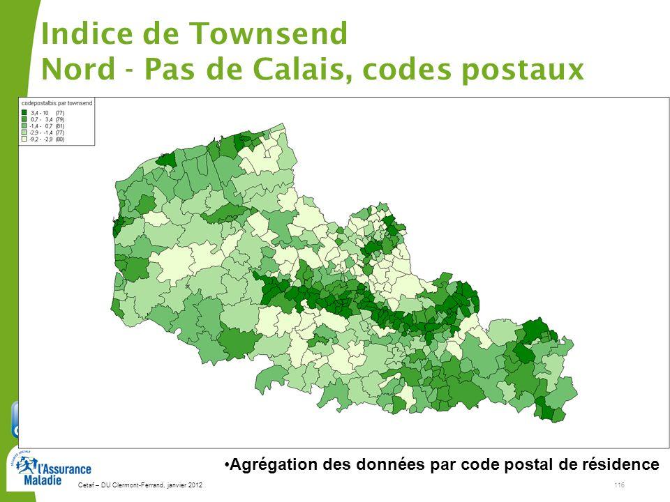 Indice de Townsend Nord - Pas de Calais, codes postaux