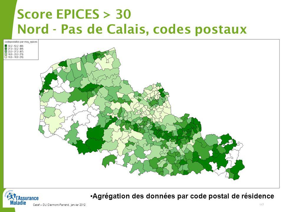 Score EPICES > 30 Nord - Pas de Calais, codes postaux